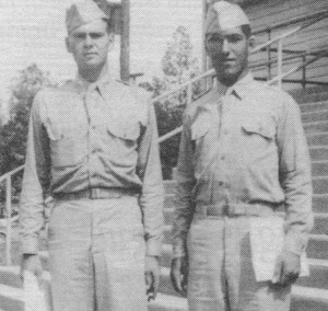 July 14, 1942. Graduation day at Fort Benning, GA. 2Lt Sam Lombardo (right) is pictured with classmate William McCLure. 2Lt McClure will be killed in Normandy.