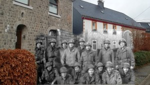 Ghost picture of the 393rd Infantry HQ personnel in front of the CP. Krinkelt, November 1944.