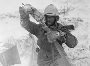 Elsenborn Ridge. Soldier of Company K, 393rd Infantry in extreme living conditions
