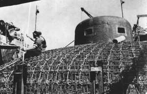 Circa 1938. Steel reinforced MG emplacement awaiting concrete filling.