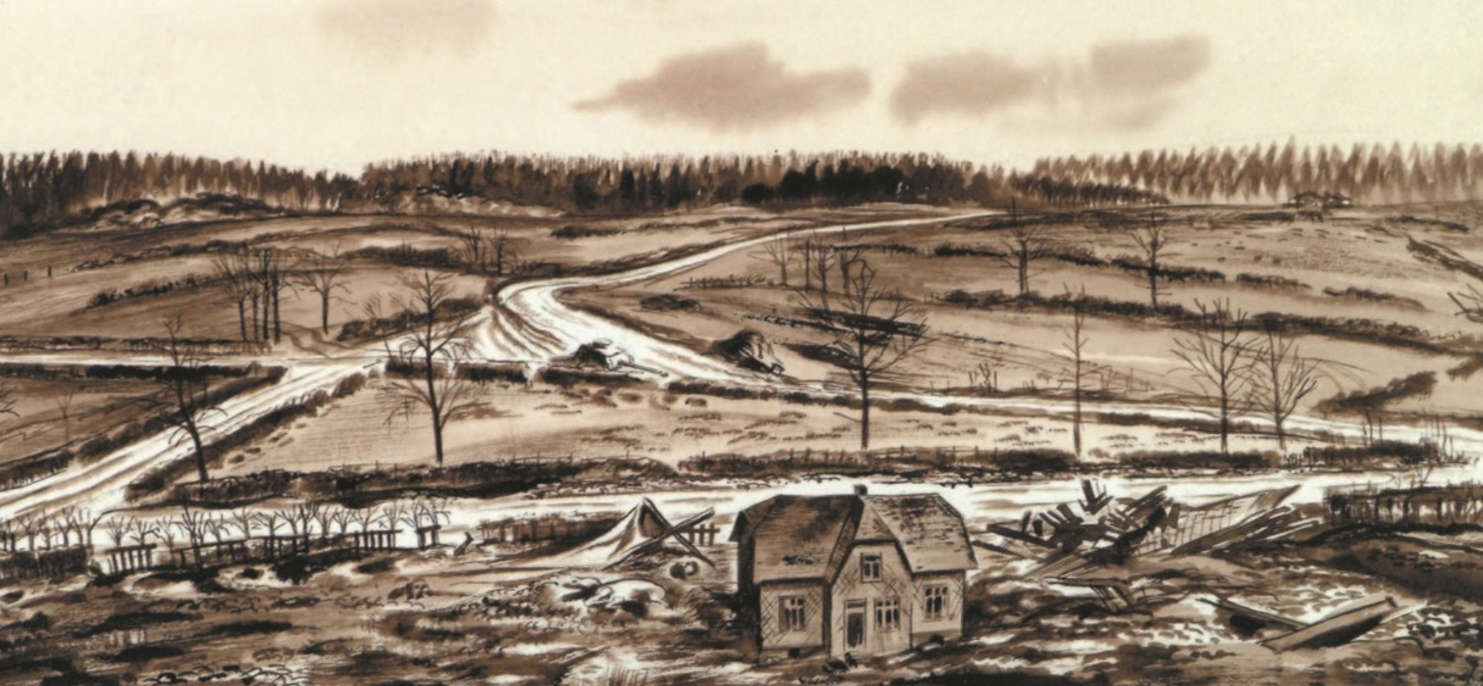 US Army artist Harrison S. Standley preserved the war time look of Lausdell and the Palm farm where so many young men died in a heroic stand.