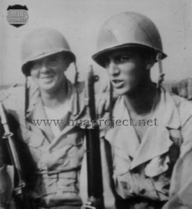 John Earl Fontenot (right) with Sgt Rogers, Louisina manoeuvers 1944.
